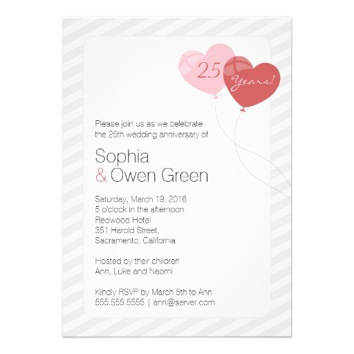 Heart balloon 25th wedding anniversary party invitations