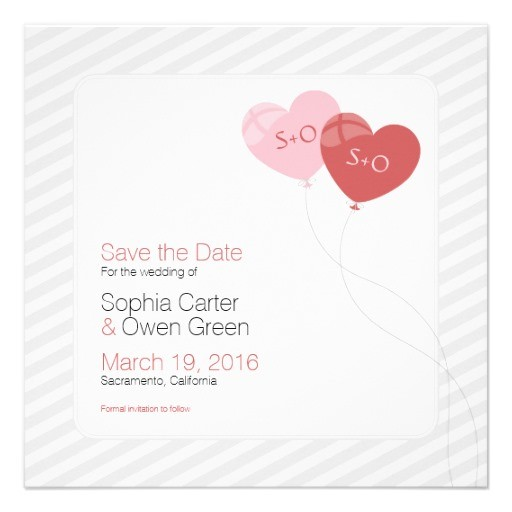 Heart balloons elegant wedding save the dates - Square