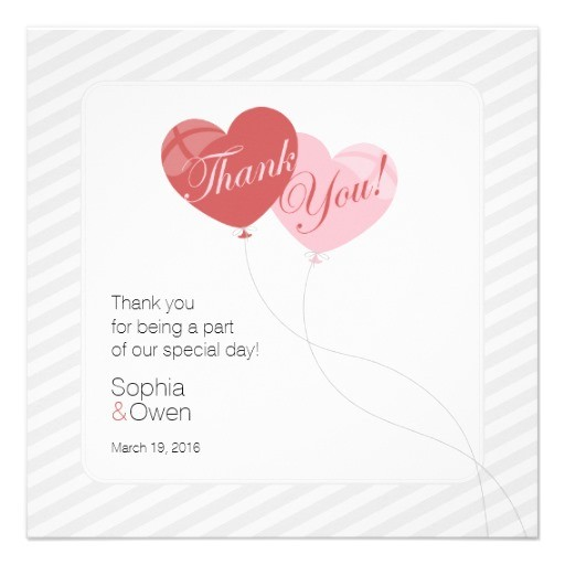 Heart balloons square wedding thank you card