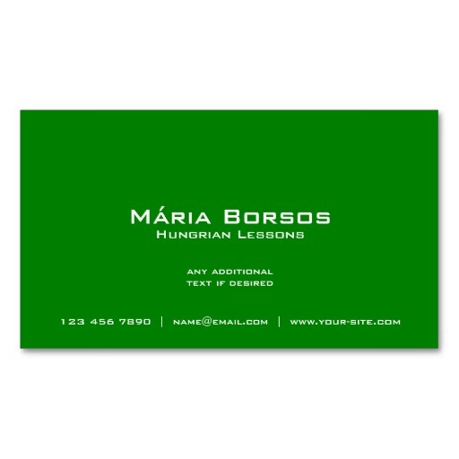 Back of Hungarian flag business cards / Hungarian teacher business cards