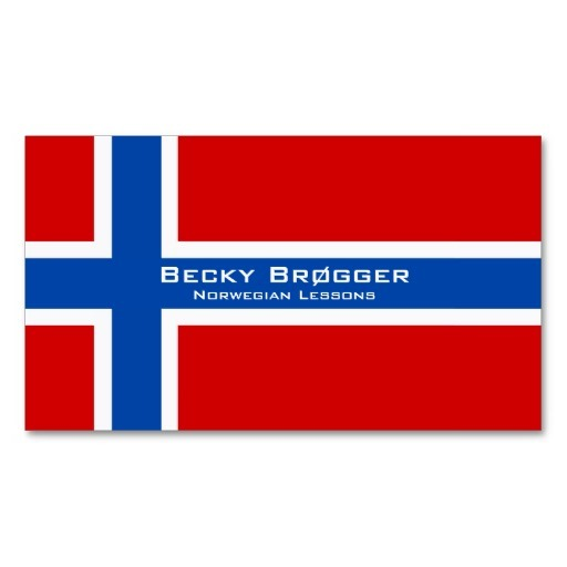Norway flag business cards / Norwegian teacher business cards