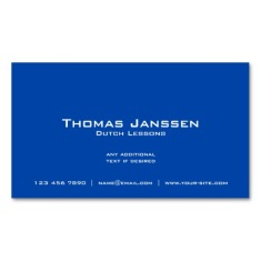 Back of Dutch flag business cards / Dutch teacher business cards