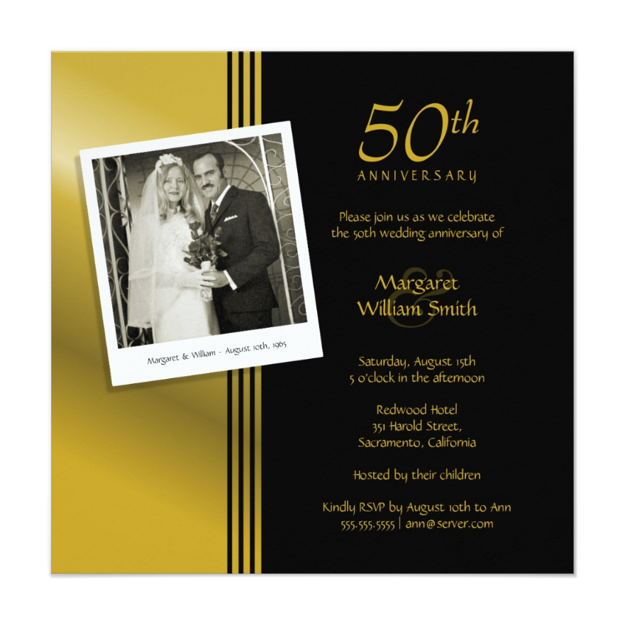 Golden Anniversary Invitation With Photo