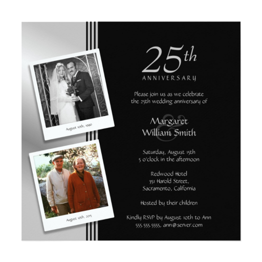Silver Anniversary Invitations Now and Then Photos