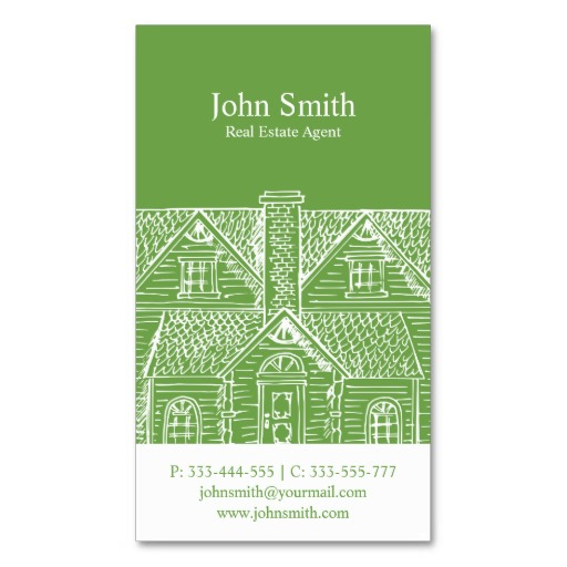 Green real estate business card templates