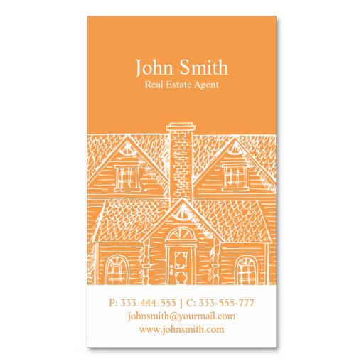 Orange real estate business card templates