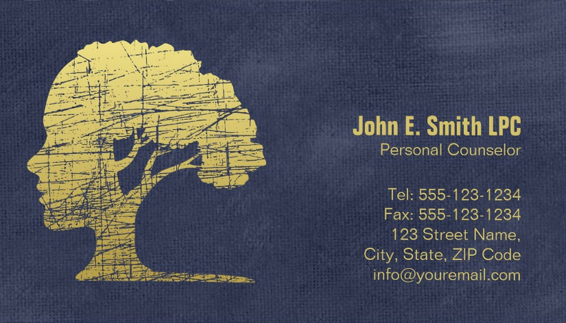 Blue creative psychologist business cards - Mind and Tree