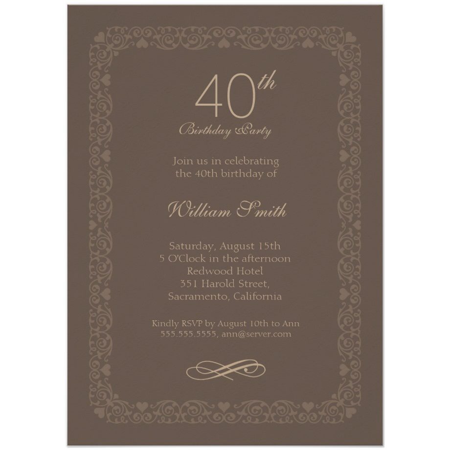 Brown Classic 40th Birthday Invite