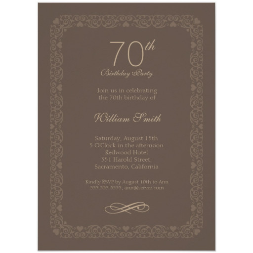Brown Classic 70th Birthday Invite
