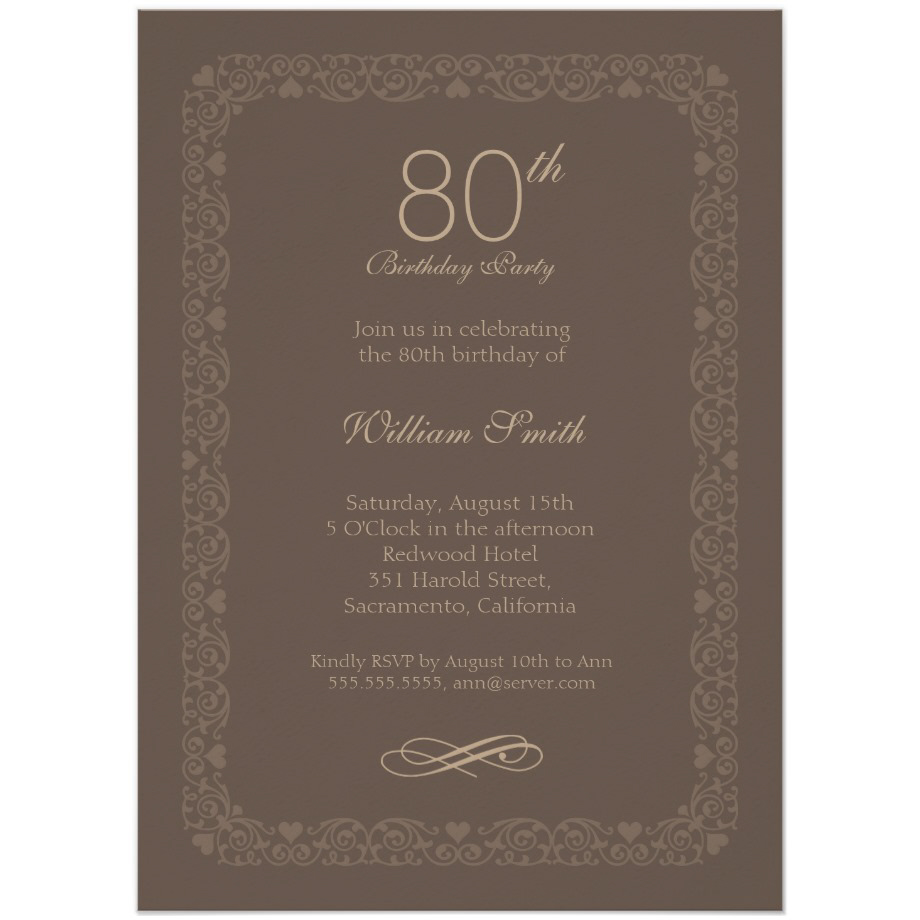 Brown Classic 80th Birthday Invite