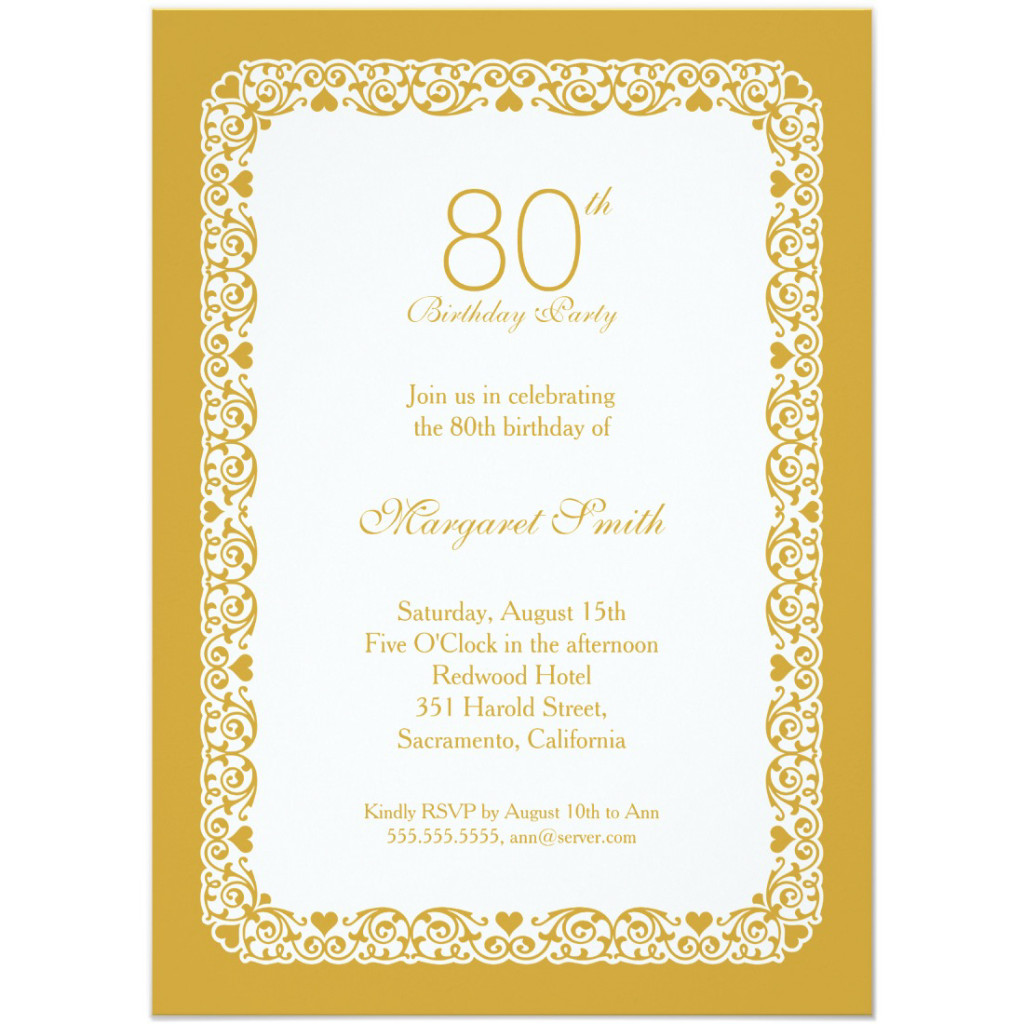 Elegant lace 80th birthday party invitations - Choose your own colors