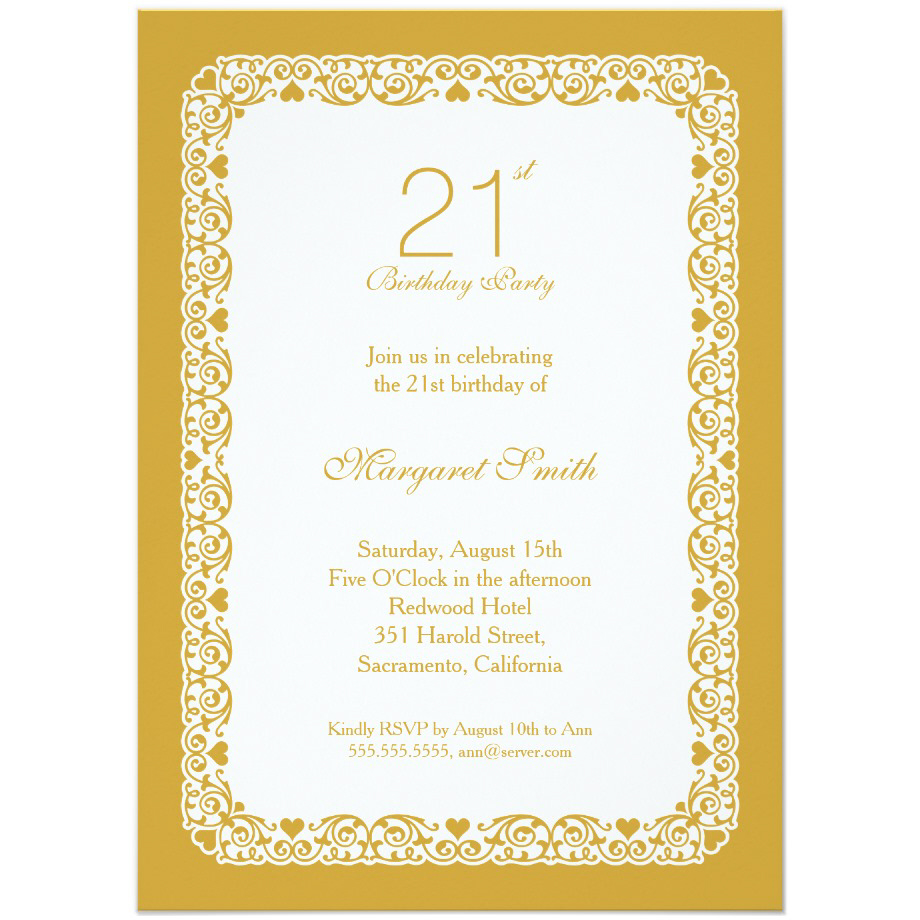 Elegant personalized 21st birthday party invitations - Choose your own colors