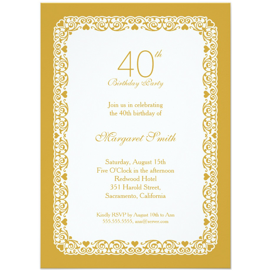 Elegant personalized 40th birthday party invitations - Choose your own colors