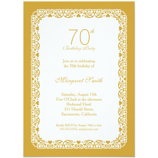 Elegant personalized 70th birthday party invitations - Choose your own colors