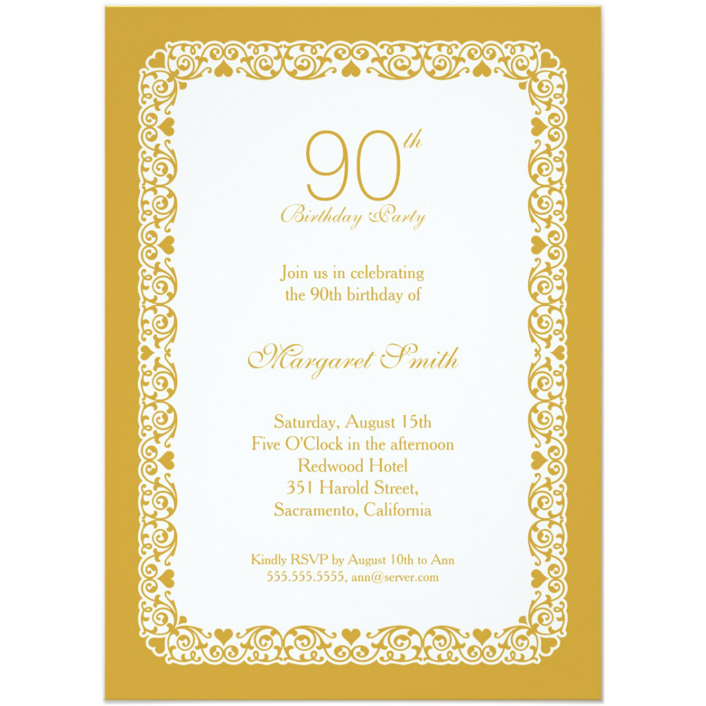 Elegant personalized 90th birthday party invitations - Choose your own colors