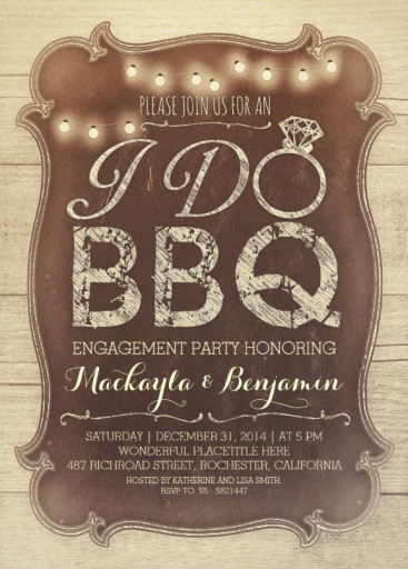 BBQ engagement party rustic vintage invitation