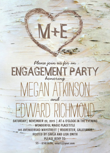 Carved heart engagement invitation - Birch tree