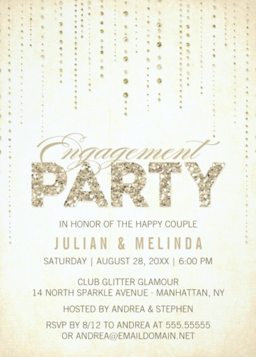 Classic Engagement Invitation Card - Golden Glitter Look