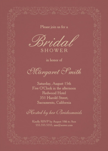 Classic redwood bridal shower invitations