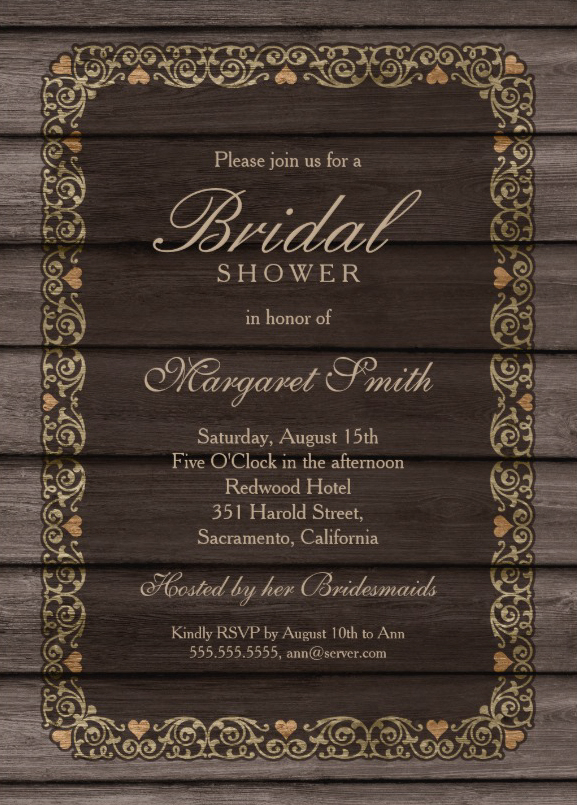 Decorated wood country bridal shower invitations