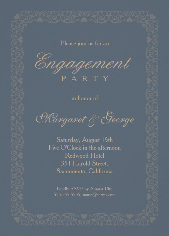 Elegant Glaucous blue engagement invitation template - ornamental frame