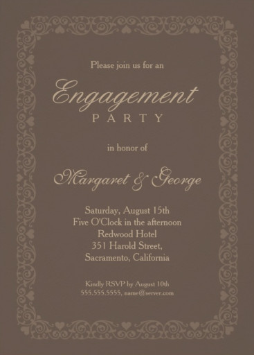 Elegant brown engagement invitation template - ornamental frame