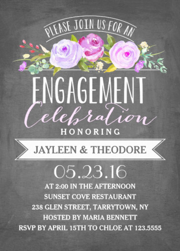 Engagement chalkboard invitation template - Pink roses