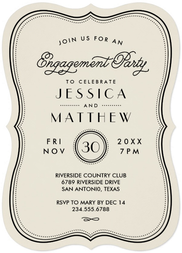 Invitation card for engagement - Vintage Ivory Art Deco