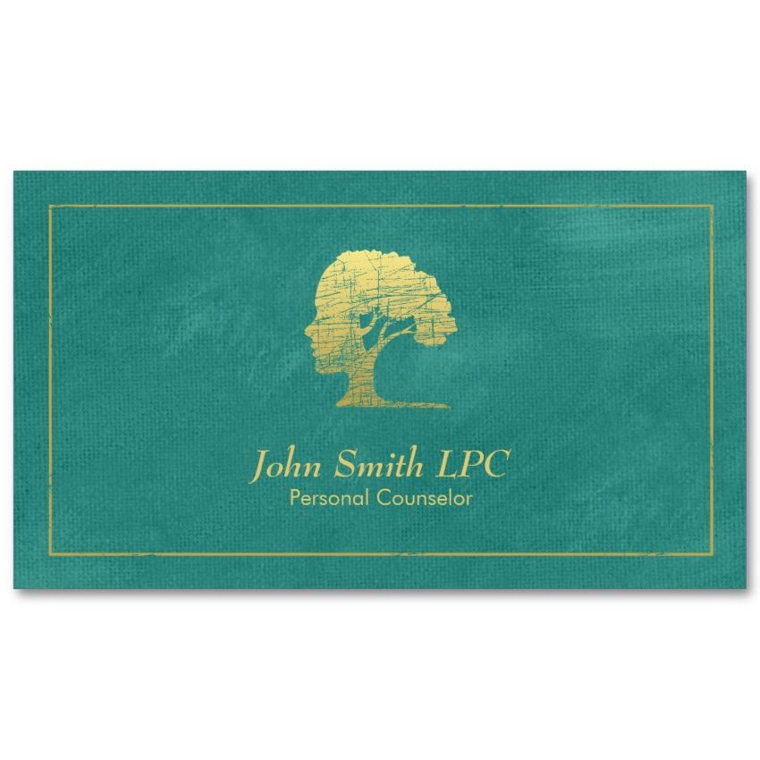 Living tree counselor business cards - Aqua canvas