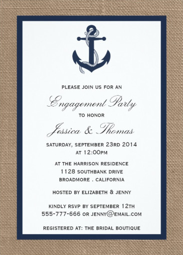 Nautical Engagement Invitation - Navy Blue Anchor On Burlap