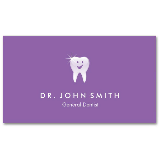 Purple dental visiting card with happy shiny tooth and appointment card