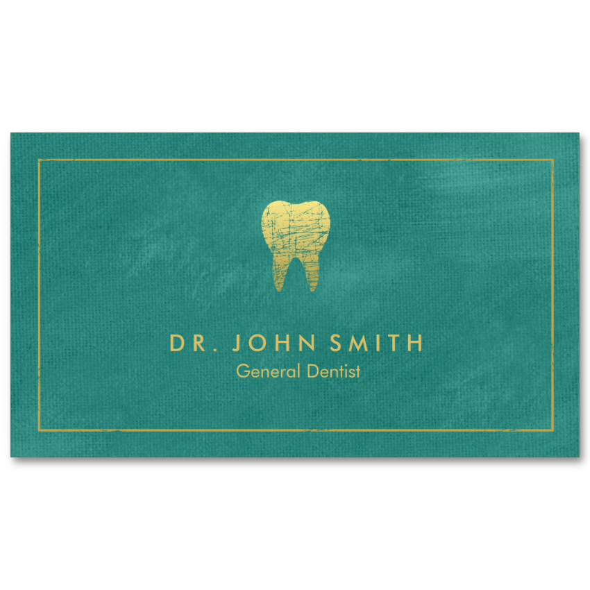 Turquoise canvas dental cards golden tooth appointment card