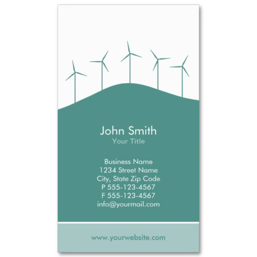Wind turbines business card template aqua background