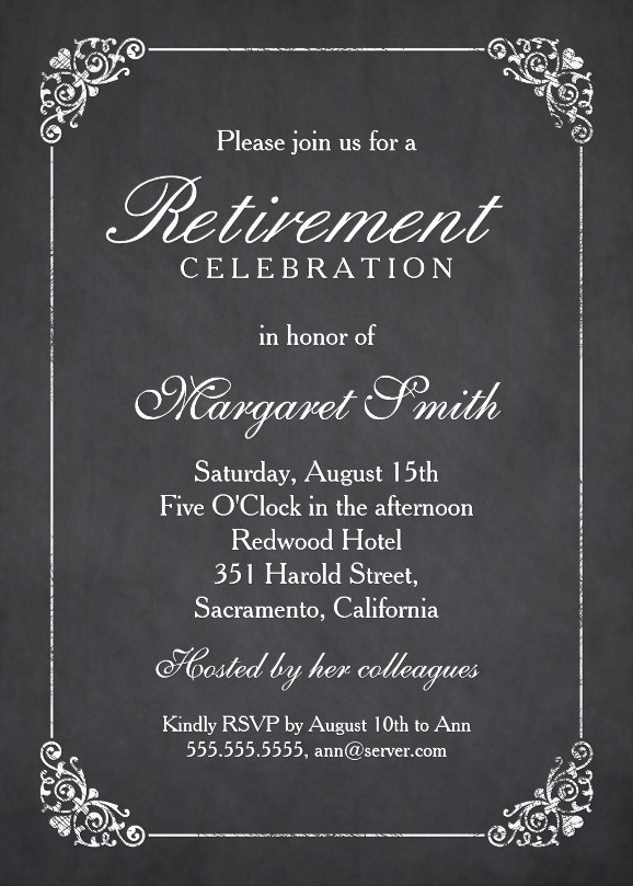Elegant Chalkboard Retirement Party Invitation Template
