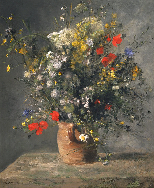 Pierre Auguste Renoir Painting - Flowers in a Vase Canvas Print