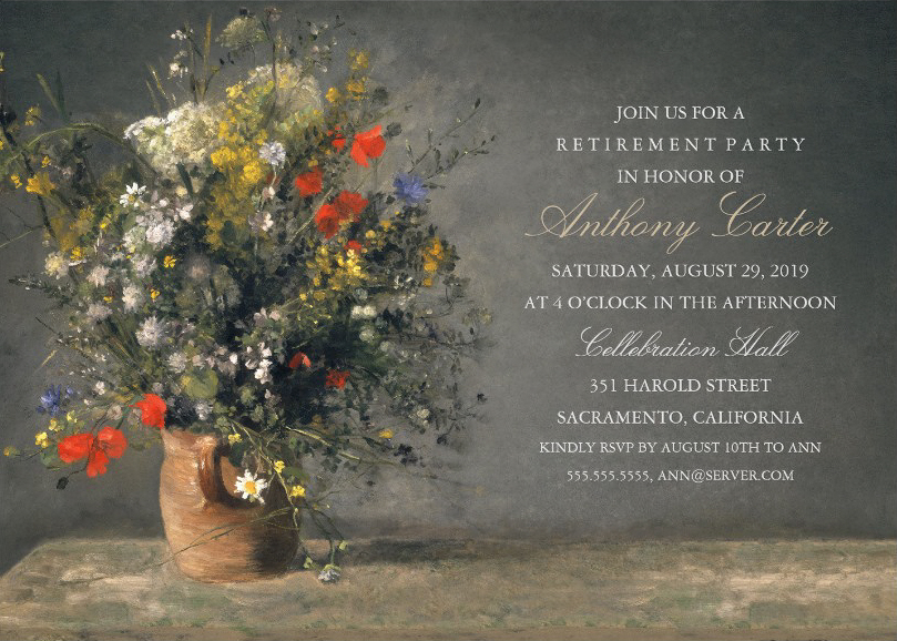 Renoir Painting Retirement Party Invitation With Flower Vase