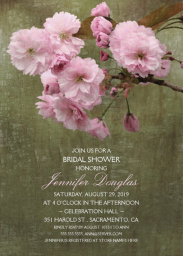 Cherry Blossom Bridal Shower Invitations – Rustic Sakura Style