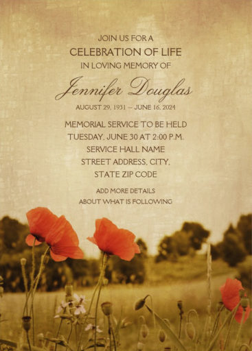 Country Poppy Field Memorial Service Invitations