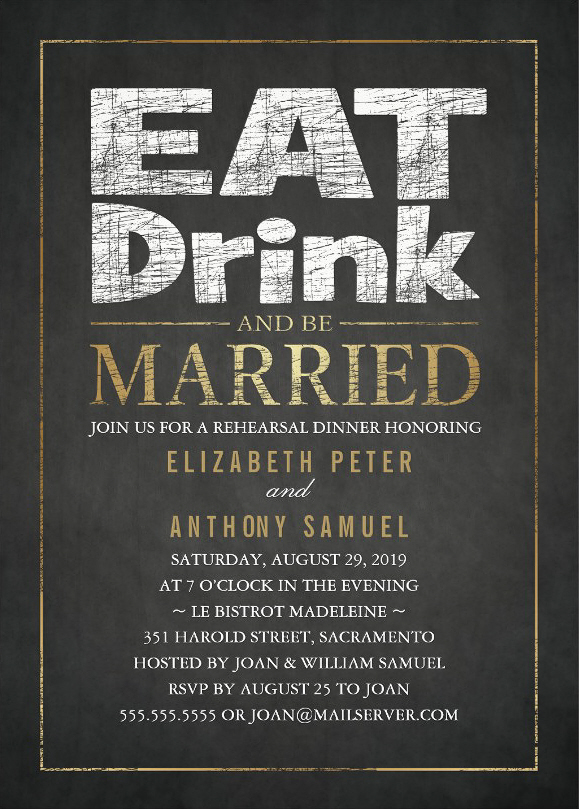 Eat Drink Be Married Rehearsal Dinner Invitations