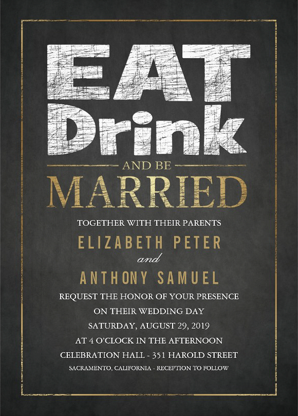 Fancy Chalkboard Golden Effect Wedding Invitation - Eat Drink and Be Married