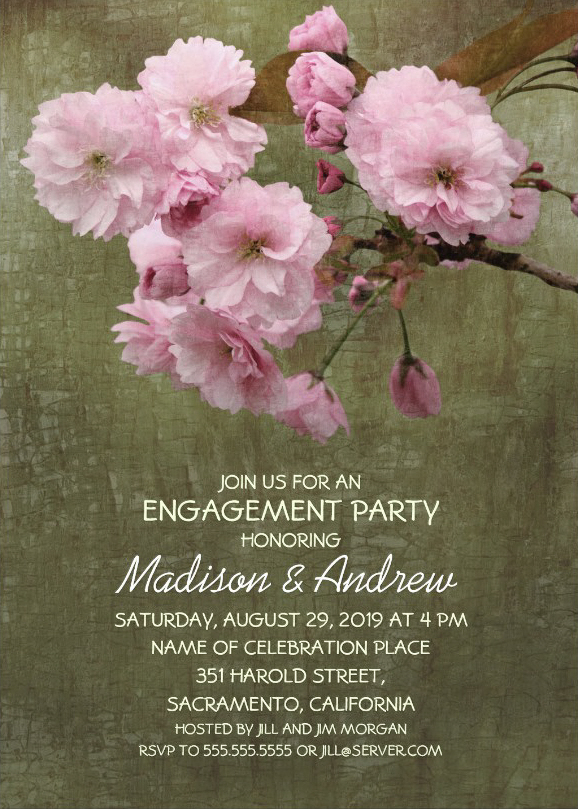 Rustic Cherry Blossom Engagement Party Invite