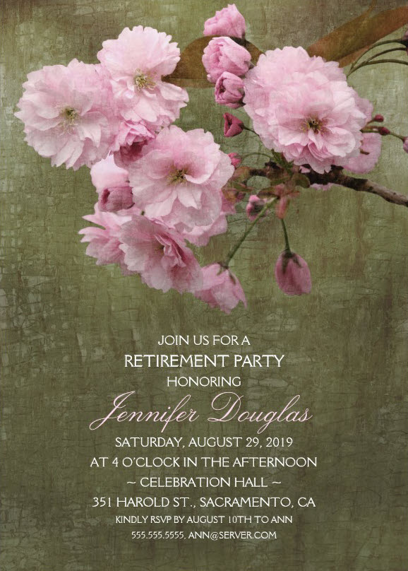 Rustic Cherry Blossom Retirement Party Invitations