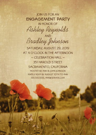 Rustic Romantic Engagement Party Invite With Red Poppy Flowers