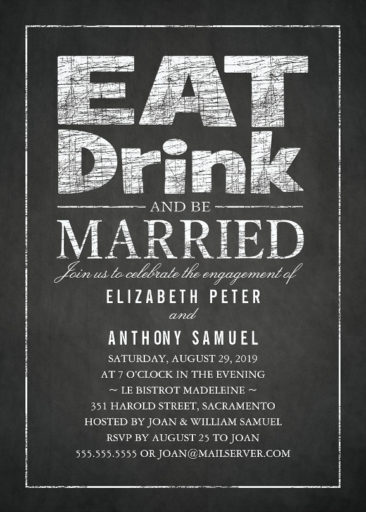 Stylish Chalkboard Engagement Invitations - Eat Drink and Be Married