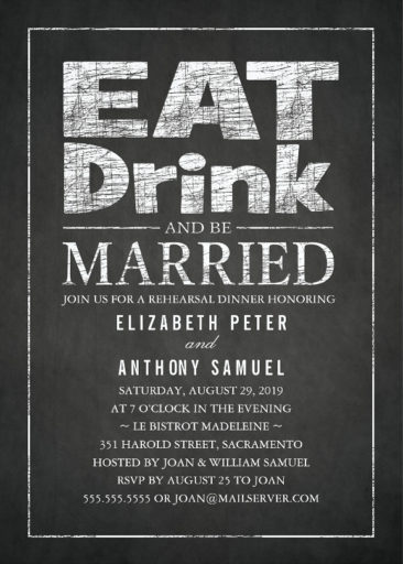 Stylish Chalkboard Rehearsal Dinner Invitations - Eat Drink Be Married!