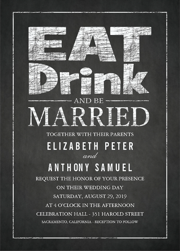 Vintage Chalkboard Wedding Invitation - Eat Drink and Be Married