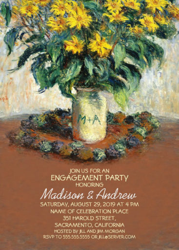 Vintage Sunflower Painting Engagement Party Invitations