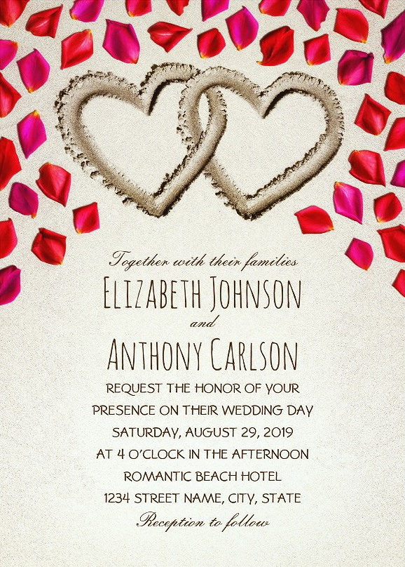 Beach Wedding Invitations Creative Sand Hearts Rose Petals