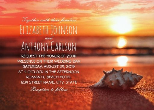 Seashell Sunset Beach Themed Wedding Invitations