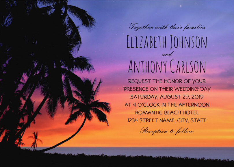 Tropical Sunset Beach Wedding Invitations - Hawaiian Palm Trees